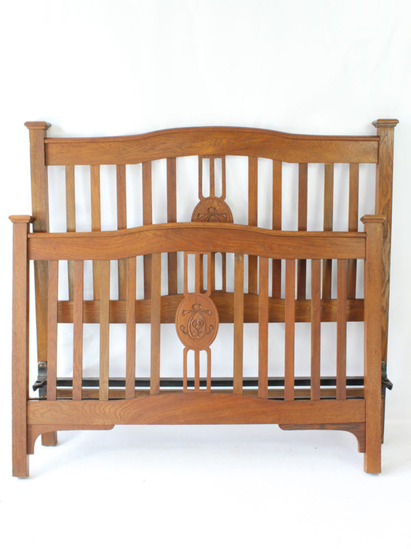 Antique Arts Crafts Oak Double Bed