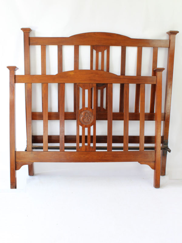 Antique Edwardian Walnut Double Bed
